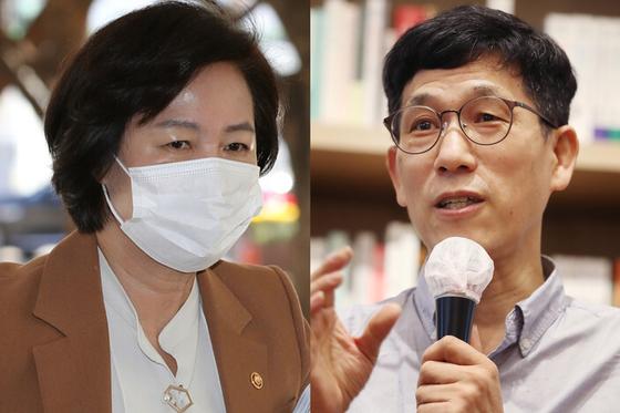 추미애 법무부 장관(왼쪽)과 진중권 전 동양대 교수. 연합뉴스
