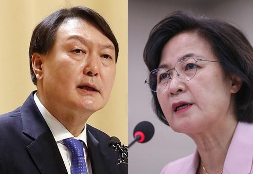 윤석열(왼쪽) 검찰총장과 추미애 법무부 장관. 연합뉴스
