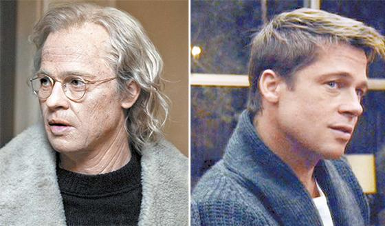 영화 '벤자민 버튼의 시간은 거꾸로 간다'에 등장하는 브래드 피트(벤자민 버튼 역)의 모습. 노화가 거꾸로 진행돼(왼쪽에서 오른쪽) 나이가 들수록 젊어진다는 설정이다. KAIST 조광현 교수팀은 노화된 세포를 젊은 세포로 되돌리는 역노화 원천기술을 개발했다고 26일 밝혔다. [영화 장면 캡처]