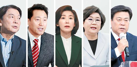 국민의힘에게 서울시장 보궐선거 승리는 어느 때보다 절박하다. 왼쪽부터 안철수 국민의당 대표, 오세훈 전 서울시장, 나경원·이혜훈·김선동 전 의원. 안 대표와 오 전 시장은 차출 대상으로 거론되고 나 전 의원은 출마를 고심 중이다. 이·김 전 의원은 이미 출사표를 던졌다. [중앙포토]