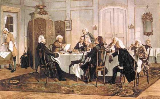 독일 화가 에밀 되르스트링의 작품 '칸트와 손님들'. 임마누엘 칸트가 동료들과 토론하는 모습을 담았다. [사진 위키피디아]
