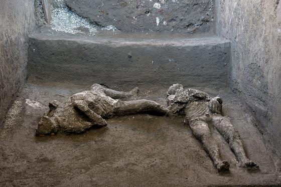 이탈리아에서 지난 18일 폼페이 화산 폭발로 사망한 두 남자의 유해가 발견됐다. 로이터=연합뉴스