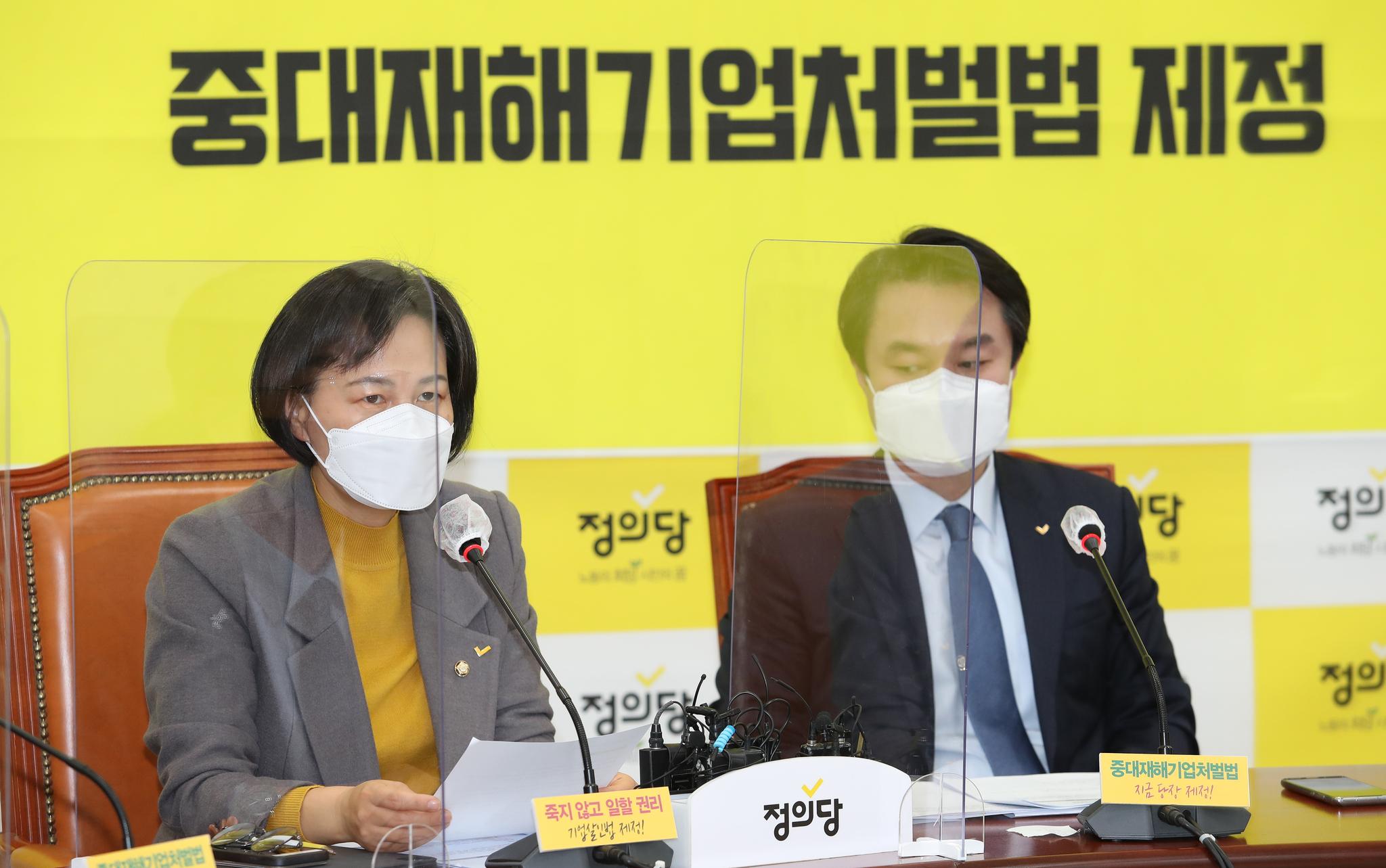 강은미 정의당 원내대표가 26일 국회에서 열린 상무위원회에서 발언하고 있다. 연합뉴스