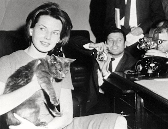 존 F 케네디가에서 키웠던 고양이 톰 키튼. JFK의 아내 재클린 케네디의 언론담당 비서였던 파멜라 터너(왼쪽 여성)가 기자단에 톰 키튼을 소개하고 있다. [프레지덴셜 펫 뮤지엄]