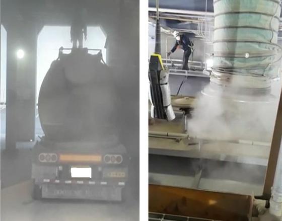 화력발전소에서 상차 작업을 하는 화물노동자. 사진 공공운수노조