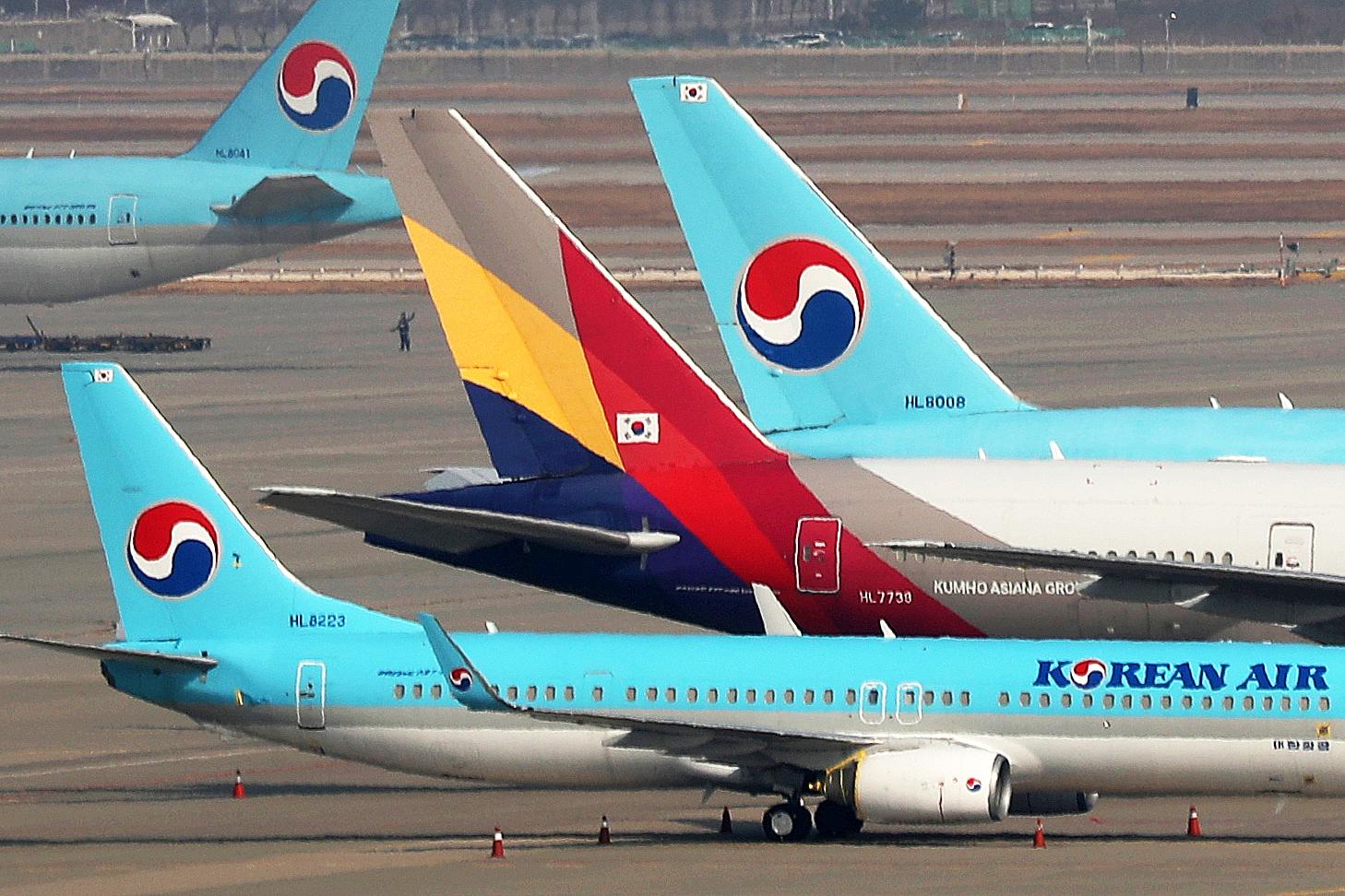 대한항공과 아시아나항공의 빅딜로 5개 항공사가 대한항공 계열이 된다. [뉴스 1]