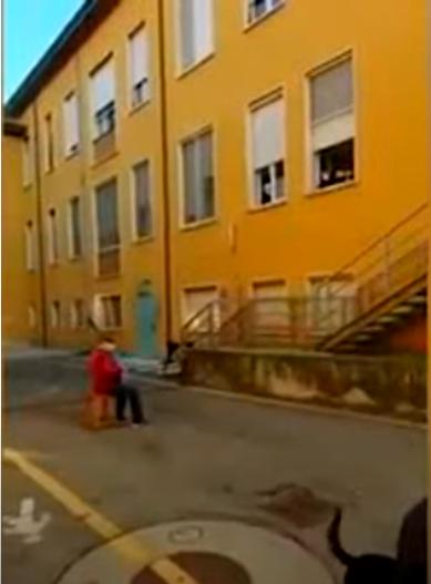 스테파노 보치니(81) 할아버지가 아내 카를라(74)를 위해 병원 앞 창문에서 세레나데를 연주하고 있다. [Aston Forgosa 유튜브 캡쳐]