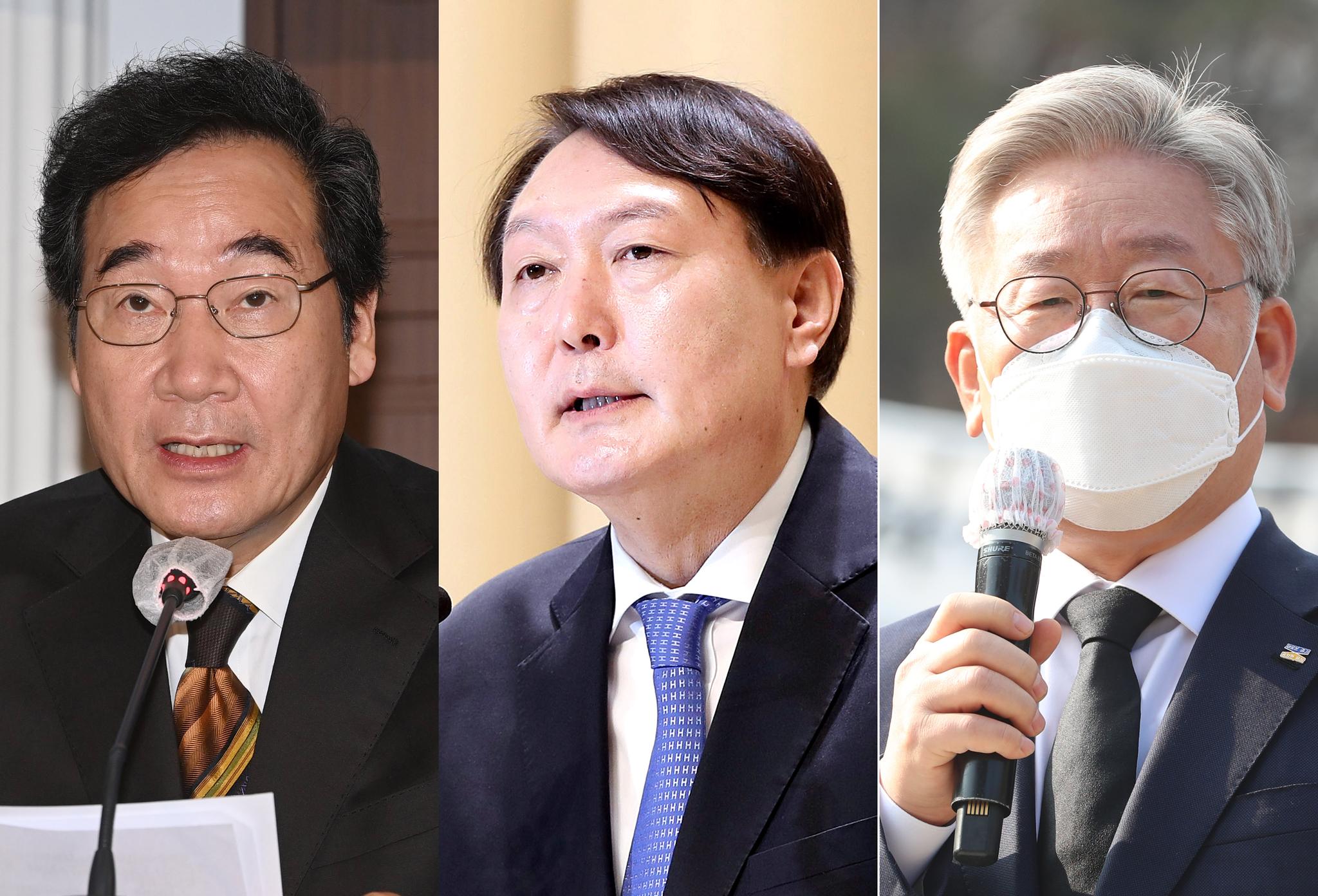 왼쪽부터 이낙연 더불어민주당 대표, 윤석열 검찰총장, 이재명 경기도지사. 연합뉴스·뉴스1·뉴시스