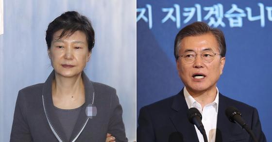 박근혜 전 대통령과 문재인 대통령. [사진 연합뉴스, 청와대사진기자단]