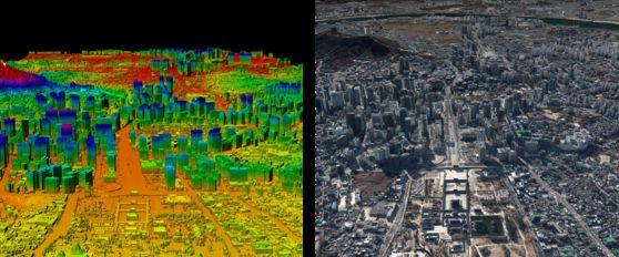 네이버랩스가 제작한 서울 전역의 3D 맵. 3D 정밀 지도는 자율주행 기술의 핵심이다. 현대·기아차의 커넥티드카에 사용될 예정이다. [사진 네이버]