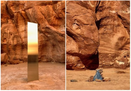 18일(현지시간) 금속기둥이 발견된 직후의 모습과 27일 금속기둥이 사라진 현장의 모습. 사진 SNS 캡처