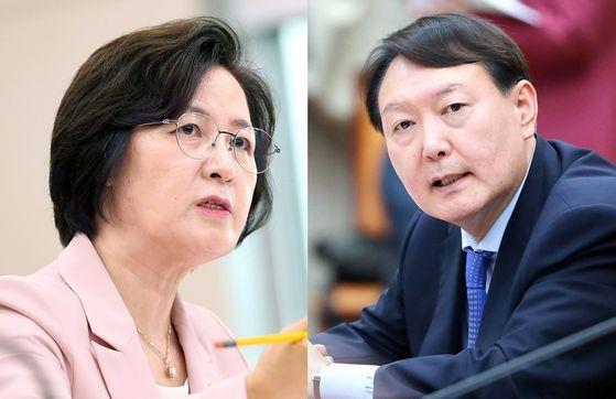추미애(왼쪽) 법무부 장관과 윤석열 검찰총장. 연합뉴스·뉴시스