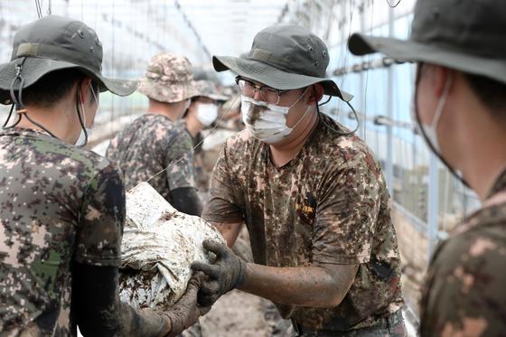 지난 8월 12일 경기도 안성시 일죽면의 한 농장에서 육군 지상작전사령부 예하 55사단 장병들이 마스크를 착용한 채 밀려온 토사를 정리하며 수해 복구 작업을 하고 있다. 늘어난 국방예산 중 161억원은 병사들에게 지급한 마스크를 일주일에 2매에서 3매로 늘리는 데 쓰일 예정이다. [뉴스1]