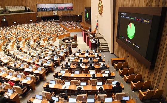 2일 오후 여의도 국회에서 열린 본회의에서 558조 규모의 2021년도 예산안이 통과되고 있다. 뉴스1