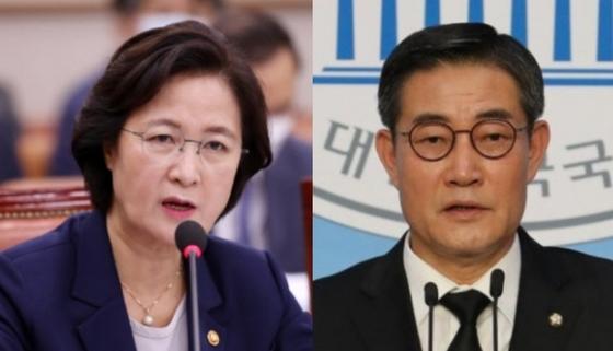 추미애(왼쪽) 법무부 장관과 신원식 국민의힘 의원. [연합뉴스]