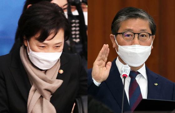 김현미 국토교통부 장관과, 변창흠 장관 내정자. 뉴스1·연합뉴스