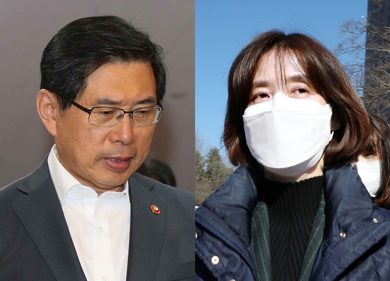 박상기 전 법무부장관(왼쪽)과 박은정 감찰담당관. 김경록·김상선 기자
