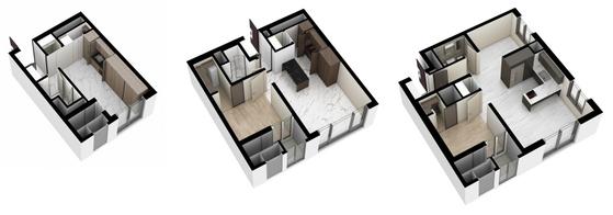 '미니 아파트' 도시형생활주택 공급이 늘고 있다. 원룸형 도시형생활주택은 방 2개까지 만들 수 있다. 사진은 서울 세운지구에 분양한 힐스테이트세운센트럴 평면도. [사진 현대엔지니어링]