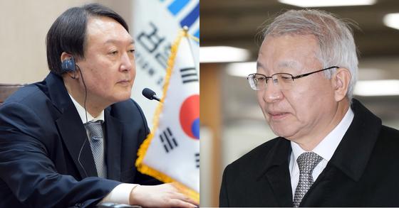 윤석열 검찰총장(왼쪽)과 양승태 전 대법원장. [연합뉴스]