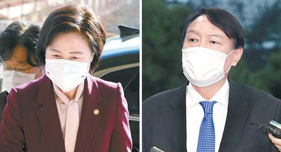추미애 법무부 장관과 윤석열 검찰총장. 중앙포토