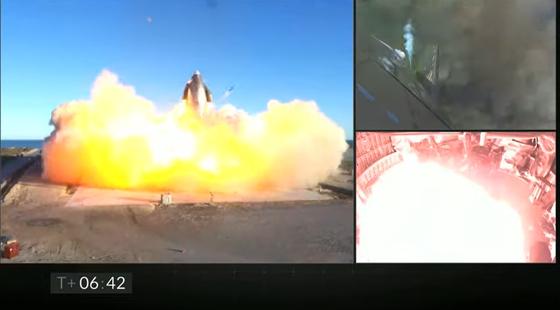 스페이스X '스타십'의 최신 시제품 'SN8'이 시험 비행 성공 이후 발사대에 착륙하면서 폭발했다. 스페이스X 유튜브 캡처
