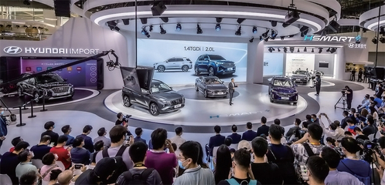 현대자동차가 지난 11월 20일 중국 광저우에서 열린 2020 광저우 국제 모터쇼에서 보도 발표회를 진행하는 모습. / 사진:현대자동차그룹
