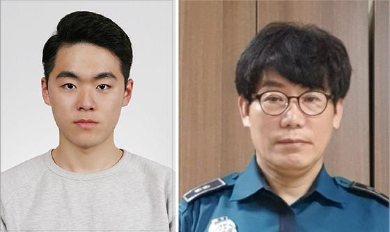 LG 의인상을 수상한 한상훈 씨(왼쪽)과 박강학 경감 〈LG 제공 편집〉