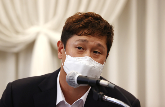 지난 2일 기자회견에서 판공비 관련 해명을 한 이대호 전 선수협 회장. [연합뉴스]