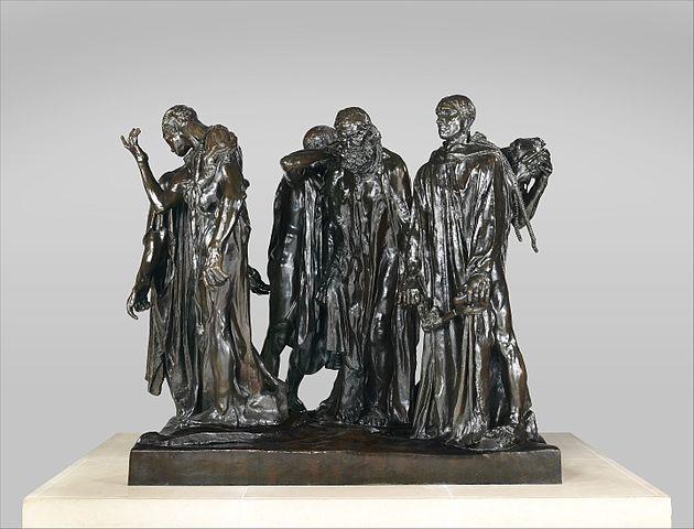 로댕작 칼레의 시민. 14세기 영불전쟁 당시 처형의 자청으로 칼레시민들의 생명을 구한 6인의 시민을 기리기 위해 만든 작품. 노블레스 오블리쥬의 상징이 됐다.