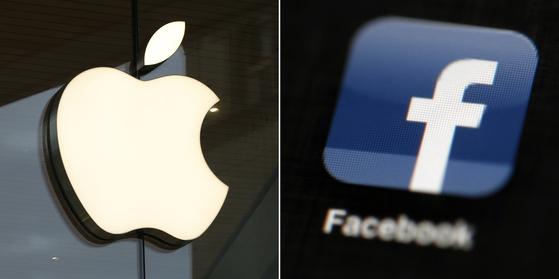 애플(왼쪽)과 페이스북 로고. AP=연합뉴스