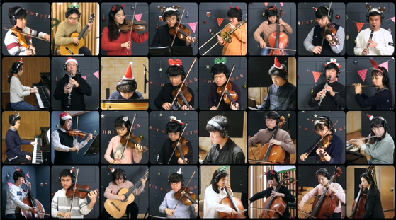 '뷰티플마인드 오케스트라'의 랜선 송년음악회. 크리스마스 캐럴 '징글벨'을 각각 연주해 모자이크 화면으로 연결했다. [유튜브 캡처]