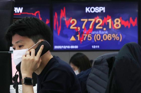 18일 오후 서울 중구 하나은행 명동점 딜링룸 전광판에 코스피 지수가 전일 대비 1.75포인트(0.06%) 상승한 2772.18을 나타내고 있다. 뉴스1
