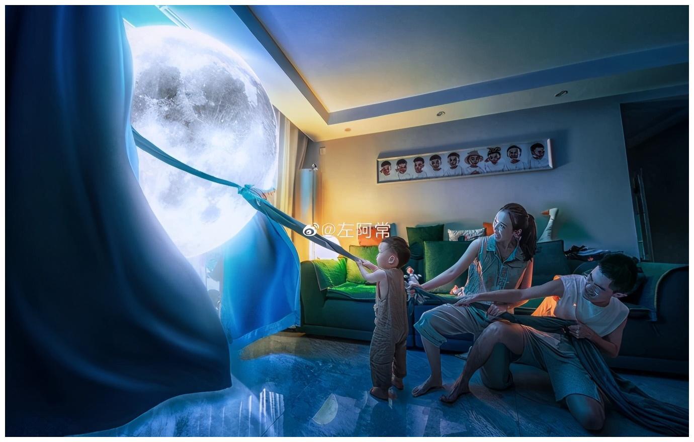 주어아창이 아들의 꿈을 실현시켜 주기 위해 달을 집까지 끌어온 합성 사진. [웨이보 캡처]