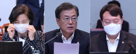문재인 대통령(가운데) 추미애 법무부 장관(왼쪽), 윤석열 검찰총장. 연합뉴스