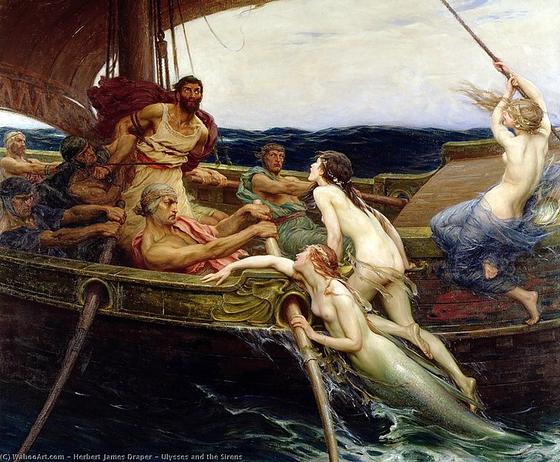 오디세우스는 세이렌의 유혹을 이겨내기 위해 부하들에게 자신의 몸을 돛대에 결박하고 어떤 일이 있어도 자신의 결박을 풀지 말라고 했습니다. [사진 Wikimedia Commons]