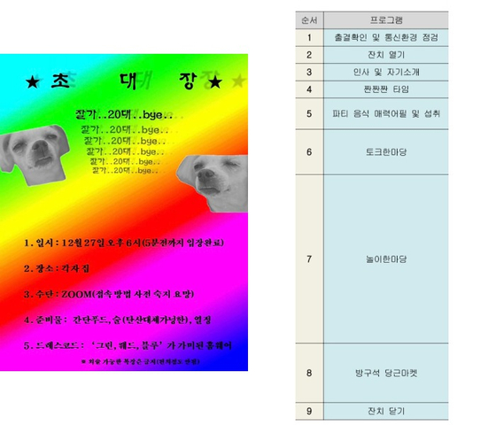 서울 마포구에 거주하는 전모(29)씨가 '20대 마지막 송년회'를 준비하며 만든 포스터와 타임테이블. 독자제공