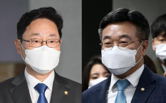 법무부 장관에 지명된 박범계 민주당 의원과 당내 검찰개혁특위 위원장을 맡은 윤호중 의원(왼쪽부터) 중앙포토