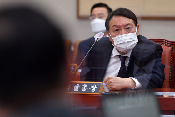 Prosecutor General Yoon Seok-yeol attends the state administration on the 22nd and is having an argument with Rep. Park Beom-gye.  Reporter Oh Jong-taek