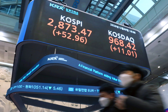 2020년도 증권 시장 마지막 거래일인 30일 오후 서울 여의도 한국거래소 전광판에 게시된 코스피 지수와 코스닥 지수. 이날 코스피 지수는 사상 최대치인 2873.47을 기록하며 거래를 마쳤다. [뉴스1]