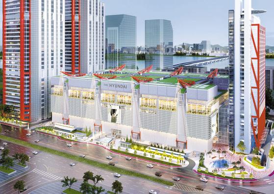 현대백화점은 내년 2월 서울 여의도에 영업면적 8만9100㎡ 규모의 '현대백화점 여의도점'(가칭)을 오픈할 예정이다. 사진은 조감도. [사진 현대백화점그룹]