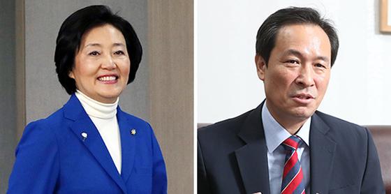박영선 중소벤처기업부 장관 (왼쪽), 우상호 더불어민주당 의원 (오른쪽). 연합뉴스
