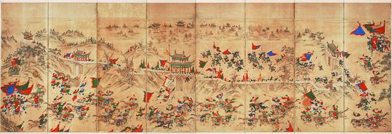 임진왜란의 판세를 바꿔놓은 제2차 평양성 전투를 그린 '평양성 전투도'(부분). 1593년(선조 26) 1월 명나라 이여송이 이끄는 명군과 조선군은 평양성을 탈환하는 데 성공한다. [사진 국립중앙박물관]