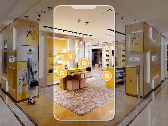 백화점 1층에 위치한 실제 매장을 그대로 가상 공간에 구현한 펜디. 사진 펜디코리아