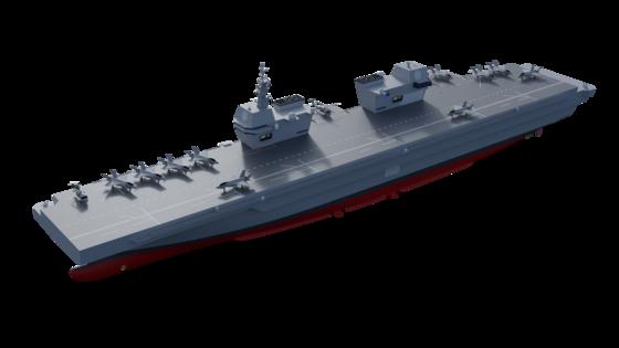 해군이 추진하고 있는 경항공모함의 조감도 컴퓨터 그래픽. 영국의 항모인 퀸엘리자베스함처럼 아일랜드(함교)가 2개다. 미국의 강습상륙함인 아메리카함처럼 평평한 갑판을 갖고 있다. [해군]