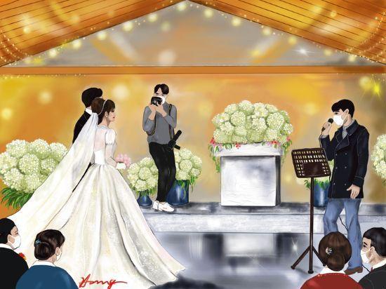 코로나19의 결혼식장, 신랑신부를 제외한 모두가 마스크를 쓰고 치러진다. 결혼축가마저도 마스크를 쓴 채 부르는 요즘 결혼식장/ 아이패드7.프로크리에이트 [그림 홍미옥]