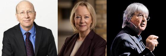 왼쪽부터 리처드 볼드윈 제네바국제경제대학원 교수, 린다 그래튼 런던비즈니스스쿨 교수, 짐 데이토 하와이대 명예교수. [중앙포토]