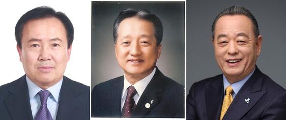제19대 대한골프협회 회장 선거에 출마한 박노승, 우기정, 이중명 후보(왼쪽부터). [사진 대한골프협회]