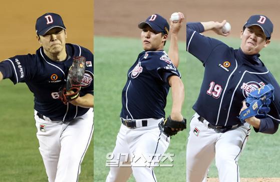 두산 최원준(왼쪽부터)·박종기·김민규. IS포토