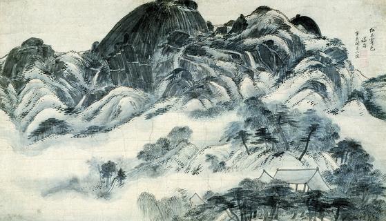 겸재 정선의 걸작 '비 개인 인왕산'(仁王霽色圖). 조선의 산에는 소나무·참나무에 진달래가 소복소복한데, 그 속은 화강암이다. 속이 옹골찬 시대의 조선 사람들 같다. [중앙포토]