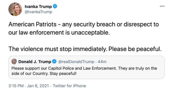 이방카는 미 의사당에 난입한 시위대를 '애국자'라고 칭했다가 논란이 일자 금방 삭제했다. [이방카 트럼프 트위터]
